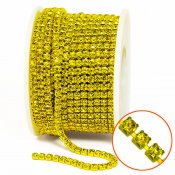 Approx. 3mm rhinestone chain with A-grade crystals, yellow