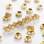 Rhinestone spacer beads, 6mm, gold-colored