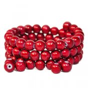 Drizzle glass beads, 8mm round, red