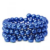Glass pearls, 8mm beads, blue