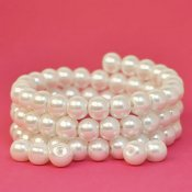 Glass pearls, 8mm beads, ivory