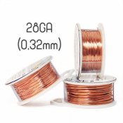 Solid copper wire, 28GA (0,32mm grov)