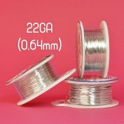 Tarnish resistant wire, silver-plated, 22GA (0,64mm thick)