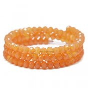Faceted glass beads, 4x6mm abacus, salmon jade