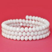 Faceted glass beads, 4x6mm abacus, white