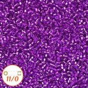 Miyuki Delica 11/0, silver-lined dyed bright violet