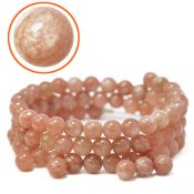Natural sunstone, 6.5mm round beads