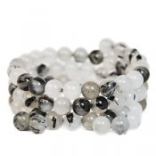 Natural tourmalinated quartz, 8mm round beads