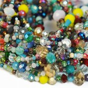 Mixed 2-10mm faceted glass beads, 40cm strand