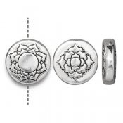 TierraCast bead, 14mm Lotus/Mandala, silver-plated