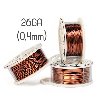 Non-tarnish antique copper wire, 26GA (0,4mm grov)