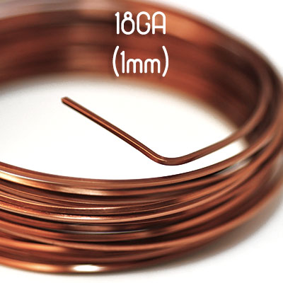 Fyrkantig non-tarnish antique copper wire, 18GA (1mm grov)
