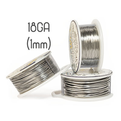 Non-tarnish stainless steel wire, 18GA (1mm grov)