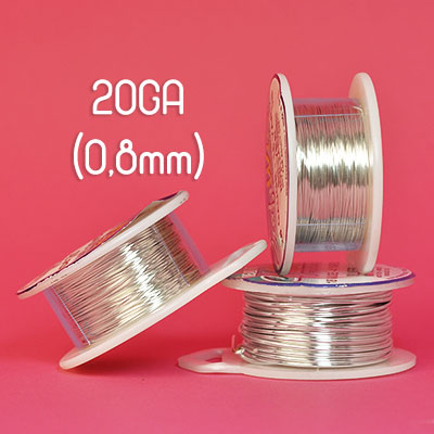 Tarnish resistant wire, silverpläterad, 20GA (0,8mm grov)