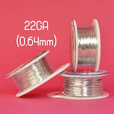 Tarnish resistant wire, silverpläterad, 22GA (0,64mm grov)