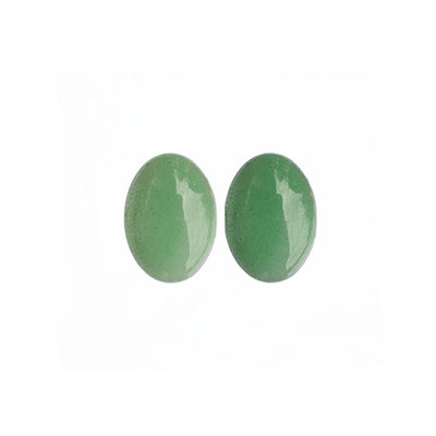 Cabochon, natural green aventurine, 12x16mm