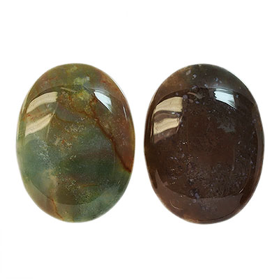 Cabochon, naturlig indisk agat, ca 30x40mm oval