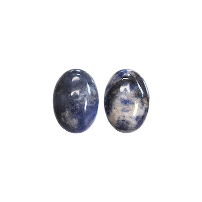 Cabochon, naturlig sodalit, 13x18mm oval