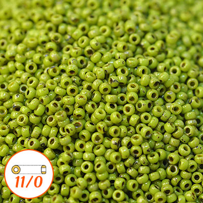 Miyuki seed beads 11/0, Picasso chartreuse