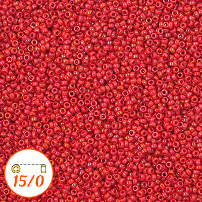 Miyuki seed beads 15/0, opaque red luster