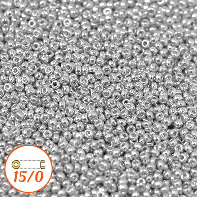 Miyuki seed beads 15/0, sterling silver plated