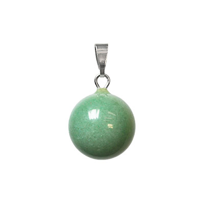 Round pendant with bail, 13x23mm, natural green aventurine