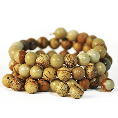 Natural picture jasper, 8mm round beads