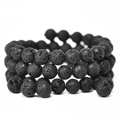 Natural lava rock, 8mm round waxed beads
