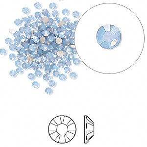 Swarovski flat back strass, 2.1-2.3mm, air blue opal