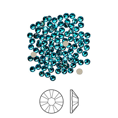 Swarovski flat back strass, 2.1-2.3mm, blue zircon