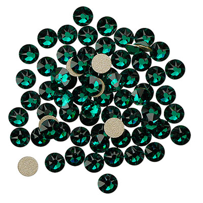 Swarovski flat back strass, 3-3.2mm, emerald