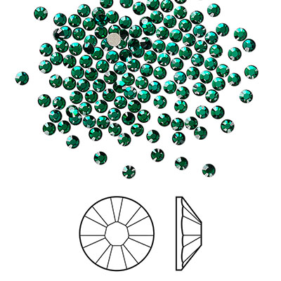 Swarovski flat back strass, 2.1-2.3mm, emerald
