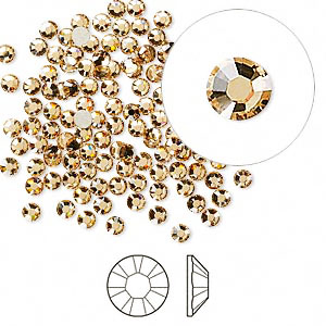 Swarovski flat back strass, 2.5-2.7mm, light Colorado topaz