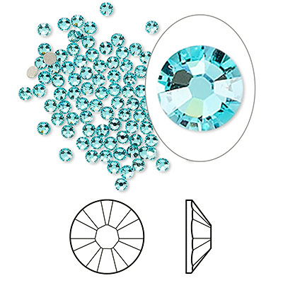 Swarovski flat back strass, 2.1-2.3mm, light turquoise
