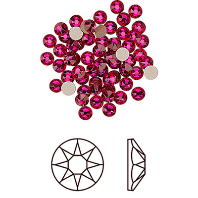 Swarovski flat back strass, 3-3.2mm, ruby