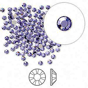 Swarovski flat back strass, 2.1-2.3mm, tanzanite
