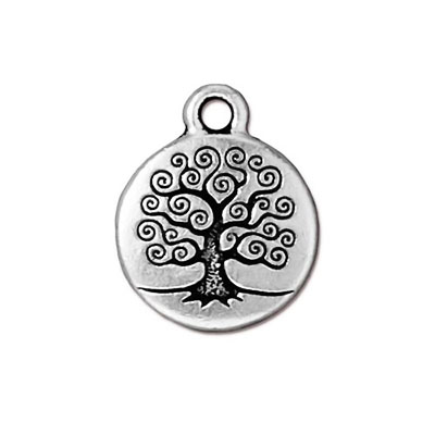 TierraCast berlock Tree of Life, 15.6x19.5mm, silverpläterad