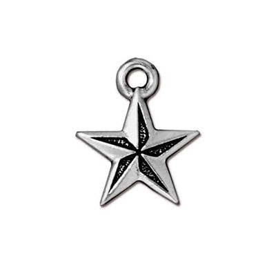 TierraCast berlock Nautical Star, 15x18mm, silverpläterad