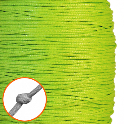 Waxed cotton cord, 1mm, yellow-green, 10m
